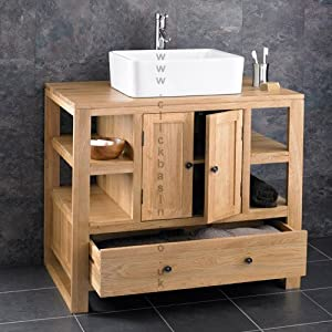 Cube solid oak 90cm wide by 55cm deep two door 1 drawer for Bathroom cabinets 55cm wide