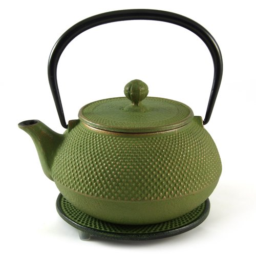 Japanese Cast Iron Teapot - Arare in green with gold highlights  &  Trivet