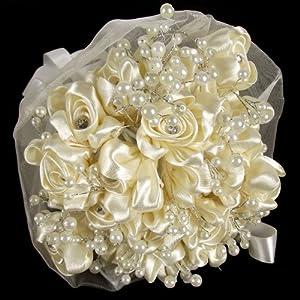 Pure Silk Bridal Bouquet Cream Artificial Flowers