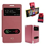 DMG Premium Diary Flip Book Cover Case For Lenovo K3/A6000+/A6000 (Maroon) + Car Steering Holder