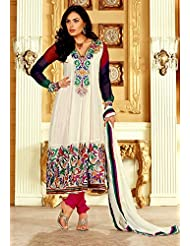 Utsav Fashion Women's Off White Faux Georgette Anarkali Readymade Churidar Kameez-Small