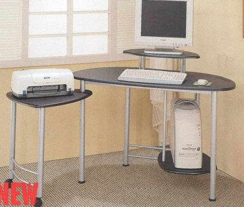 Buy Low Price Comfortable Modern Black & Silver Finish Computer WorkStation Desk Table (B000BW733O)