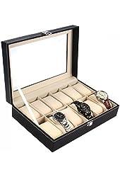 Ohuhu 12-Slot Leather Watch Box / Watch Case / Jewelry Box /Watch Jewelry Display Storage