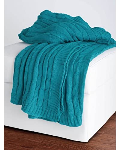 Rizzy Home Turquoise Cable Knit Throw Blanket