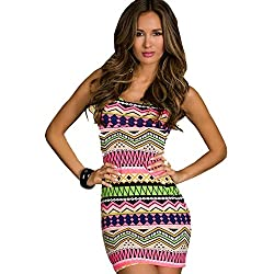 Jaune Aztec Bodycon Short Dress (Small, Pink)
