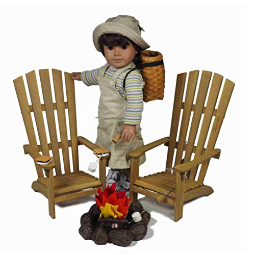 18-Inch-Camping-Furniture-and-Accessories-for-American-Girl-Great-Outdoors-Wilderness-Adventure-Play-Set-2-Adirondack-Chairs-2-Smores-2-Marshmallow-Sticks-and-Fire-Pit