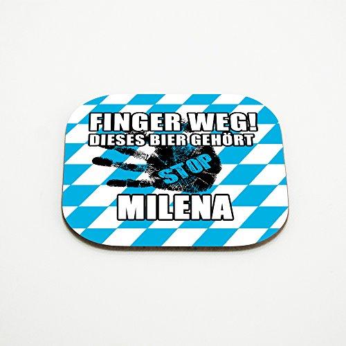 Untersetzer für Gläser mit Namen Milena und schönem Motiv - Finger weg! Dieses Bier gehört Milena