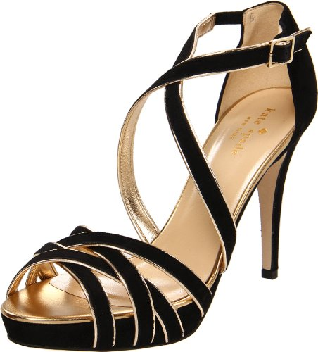 Rev Kate Spade New York Women's Ginger Open-Toe Pump,Old Gold Metallic,6.5 M US