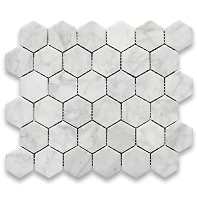 Carrara White Italian Carrera Marble Hexagon Mosaic Tile 2 inch Polished by Stone Center Online