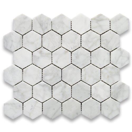 carrara-white-italian-carrera-marble-hexagon-mosaic-tile-2-inch-polished