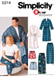 Simplicity 2 Hour Sleepwear Pattern 5314 Women's and Men's Pants or Shorts and Robe Chest Size 52-62 XL-XXL-XXXL