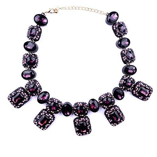 TWOPAGES-Collana con pietre di cristallo incastonate e Metallo, colore: viola, cod. WQ057purple