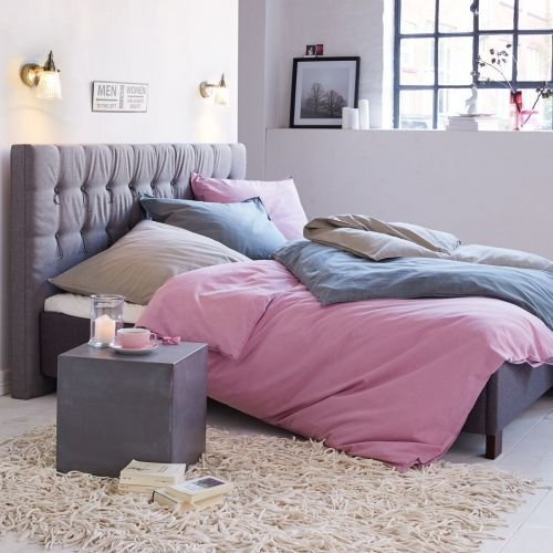 Kasandria® Bett mit Knopfheftung Grau 180x200cm