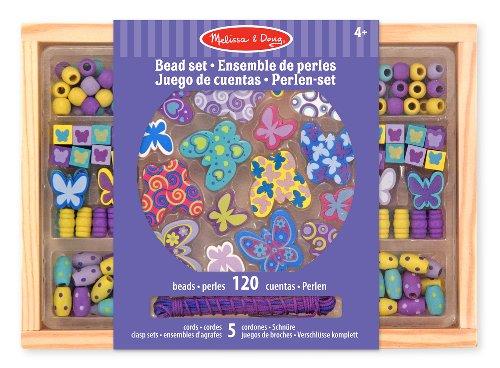 Melissa & Doug - Amigas mariposas, juego de cuentas de madera (14179)