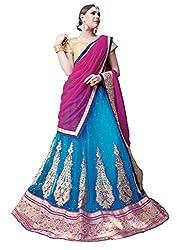Jiya Presents Embroidered Net Lehenga Choli(Sky Blue,Beige)