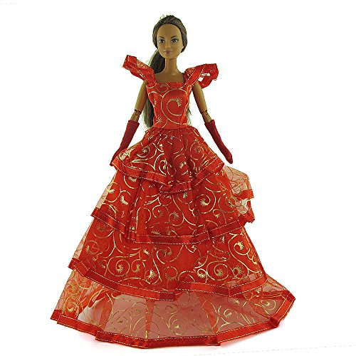 co2CREA(TM) Brand New Red Wedding Gown Fashion Clothes Dresses Mini Cute Outfit for 29cm Barbie Doll (11 1/2 inch scale 1:6) (Great Xmas gift for kids) - 1