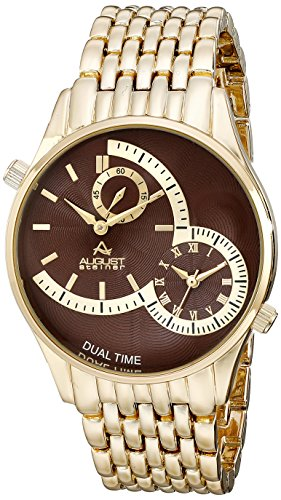 August Steiner Men's Swiss Quartz Watch with Brown Dial Analogue Display and Gold Stainless Steel Bracelet AS8141BR