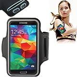 Eloja® Universal Sport Fitness Armband Neopren Tasche Galaxy S6 Edge S5 S4 S3 Schwarz