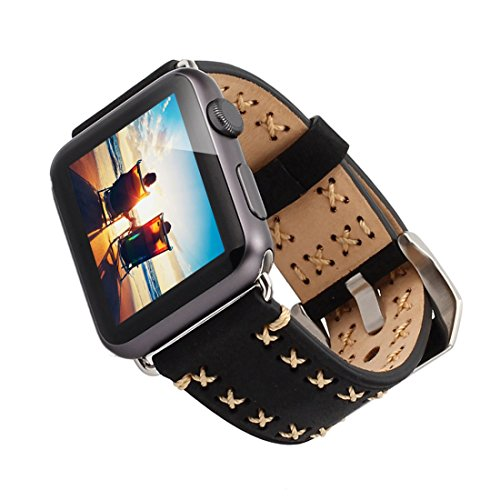 Apple Watch Band, Genuine Leather Crazy Horse Handmade Vintage Iwatch Band with Classic Metal Buckle & Connector Wristband Strap Replacement Bracelet Case for Iwatch & Sport & Edition Black 42mm