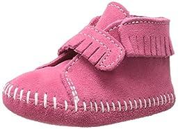 Minnetonka Front Strap Bootie (Infant/Toddler),Pink,4 M US Toddler
