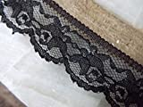 50 Yards Delicate Roses Black Cluny Floral Picot Edge Lace 1 1/4