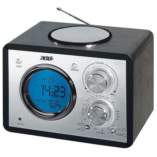 AEG AUX! Retro Radio mit Nostalgie Optik Küchenradio LUXUS RETRO-RADIO MP3 RADIOWECKER MIT UHR TEMPERATURANZEIGE LCD DISPLAY SCHWARZ