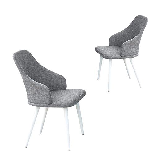 x2 Sedia in alluminio bianco seduta schienale in tessuto arredo giardino 50668