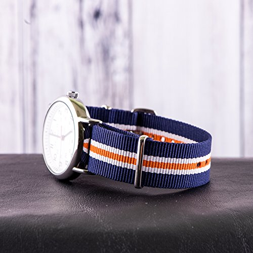 Clockwork Synergy Classic Nylon Nato watch straps bands (22mm, Navy / White / Orange)