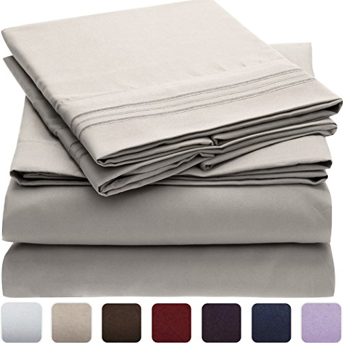 Mellanni Bed Sheet Set - Brushed Microfiber 1800 Bedding - Wrinkle, Fade, Stain Resistant - Hypoallergenic - 4 Piece (Full, Light Gray) (Full Sheet Set Hotel compare prices)