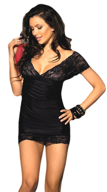 jowiha® Sexy Dessous Mini Stretch Kleid aus Satin und Spitze inklusive String Einheitsgröße S-M