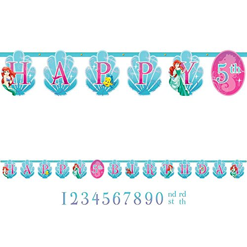 Amscan Disney Ariel Birthday Celebration Party Jumbo Add An Age Customizable Letter Banner, 10 1/2', Blue/Pink - 1