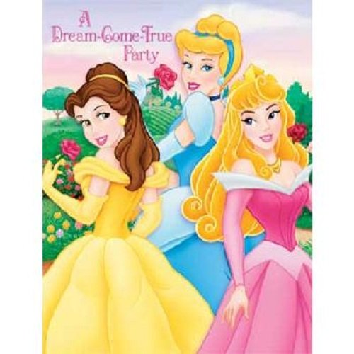 "Disney Fairytale Princess Birthday Party Invitations ""A Dream-Come-True Party"" NEW (8ct) - 1"