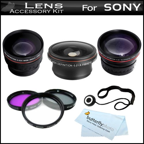 Essential 37Mm Lens Kit Bundle For Sony Hdr-Cx130, Hdr-Cx160, Hdr-Cx360V, Hdr-Cx560V, Hdr-Cx700V, Hdr-Xr160 Hd Handycam Camcorder Includes .21X Hd Super Wide Angle Panoramic Fisheye Lens + 3Pc Filter Kit + 0.45X Wide Angle Lens + 2X Telephoto Lens + More