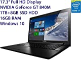 "2016 Newest Lenovo Z70 17.3"" Flagship High Performance Full HD Laptop PC, Intel Core i7-5500U 2.4GHz, 16GB RAM, 1TB HDD + 8GB SSD, NVIDIA GT840M 2GB, DVD+/RW, Windows 10"