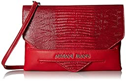 Armani Jeans W5 Lizard Printed Clutch, Red, One Size