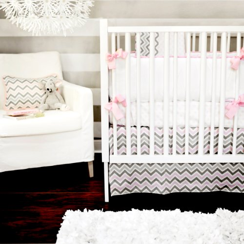 New Arrivals Peace, Love, Pink 4 Piece Crib Bedding Set, Grey