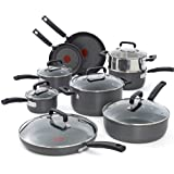 T-fal C770SF Signature Hard Anodized Nonstick Thermo-Spot Heat Indicator Cookware Set, 15-Piece, Gray