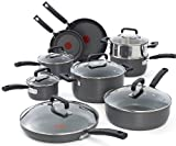 T-fal C770SF63 Signature Hard Anodized Oven Safe Durable Nonstick Thermo-Spot Heat Indicator 15-Piece Cookware Set, Gray