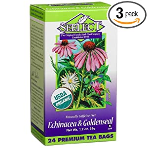 Seelect Tea Blend, Tea Bags, Echinacea and Goldenseal, 24-Count Boxes (Pack of 3)