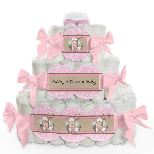 Little Cowgirl - 3 Tier Personalized Square - Baby Shower Diaper Cake front-766087