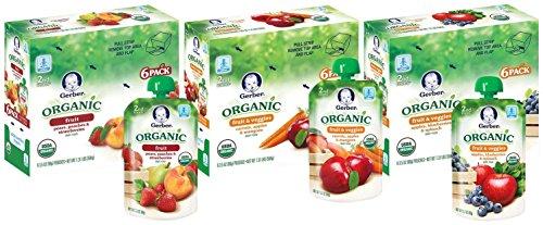 Gerber Organic 2nd Foods Purees - Variety Pack 1 - 3.5 oz - 18 pk