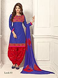 ARAJA NEW DESIGNER COLLECTION GOOD LOOKING BLUE&RED COLOR COTTON EMBROIDERED UNSTICHED FESTIVAL,MARRIAGE AND PARTY WEAR PATIYALA HAND EMBROIDERED DRESS MATERIAL