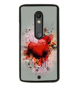 Fuson Premium 2D Back Case Cover Loving Heart With Blue Background Degined For Motoroal Moto X Style::Moto X Pure Edition