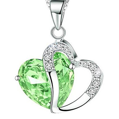 Bling Stars Swarovski Element Crystal Accent August Birthstone Peridot Heart Shaped Pendant Necklace