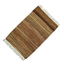 Hand Woven Mat Jute Cotton Multicolor Stripe Rug Rag Carpet Floor Runner Dari 37\