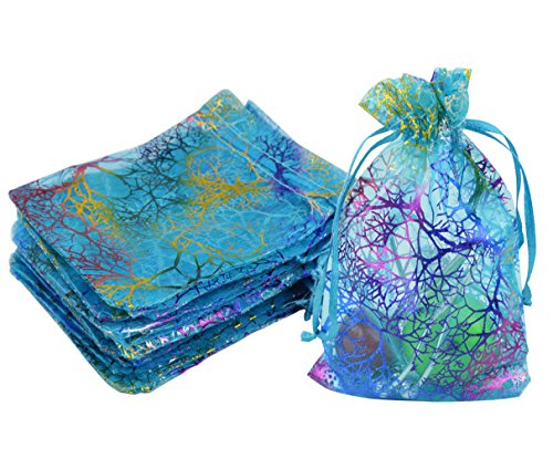 Marrywindix 100pcs Blue Organza Jewelry bags Candy Pouch Chocorate Pouch Party Wedding Favor Gift Bag