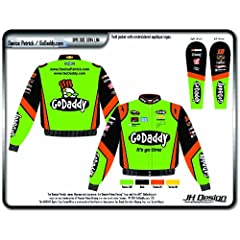 Buy 2014 Danica Patrick Go Daddy Mens Green Twill Nascar Jacket 4X by J.H. Design