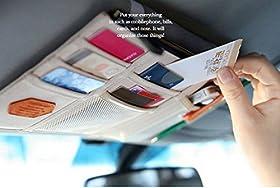 KINGLAKE New Multi-purpose Auto Car Sun Visor Organizer Pouch Bag Card Storage Holder (Beige)