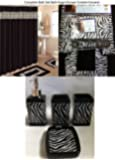 19 Piece Bath Accessory Set Black Zebra Animal Print Bath Rug Set + Black Zebra Shower Curtain & Accessories