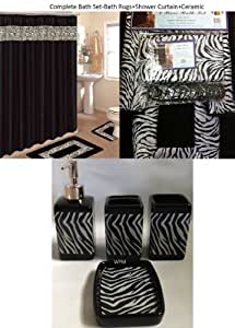 19 piece bath accessory set black zebra animal print bath for Zebra kitchen set